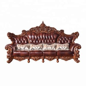 Antique American Style Sofa For Living Room Furniture Lobby Genuine Leather  Sofa Victorian Sofa