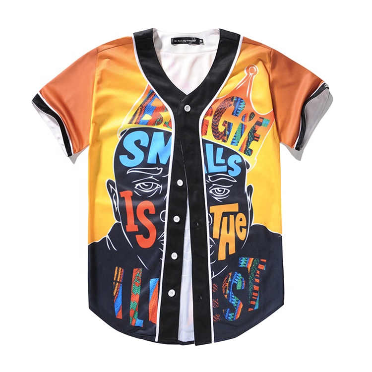 Fashion Mens Geel 3D Gesublimeerd Print Baseball Jersey