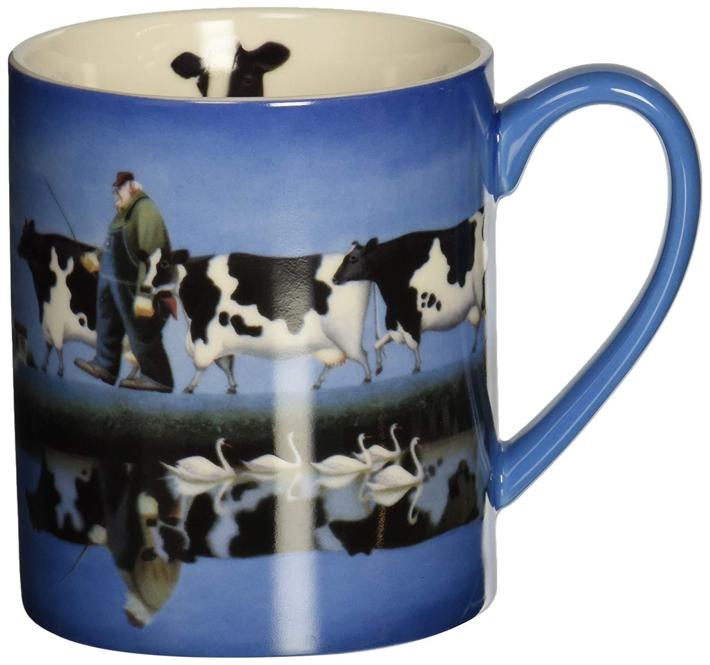 LANG Delta Cows 14 oz. Ceramic Coffee Mug Swans, Farmer & Cows Art by Lowell Herrero (5001375)
