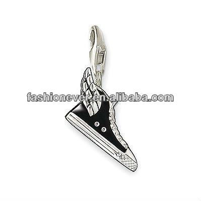 Silver Feather Canvas Shoes Pendant Charm