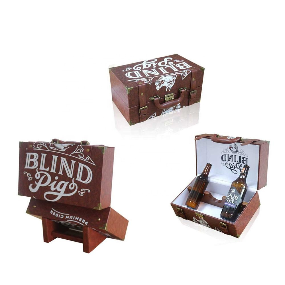 China supplier distinctive cool custom logo brown leather wine box