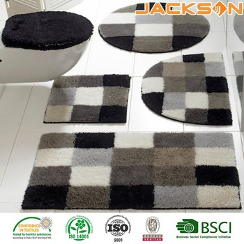 New Hot Ing Whole China Black And White Gray Grid Splicing 100 Polyester Washable Bathroom