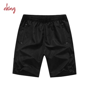 Black cotton silk screen printed dry fit unisex sport running gym shorts