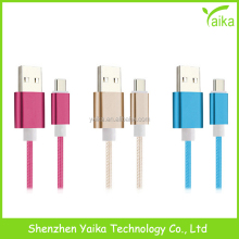 Yaika Hot Portable color braid type c usb cable , OEM quality type-c usb cable for macbook air , for iphone braid usb cable