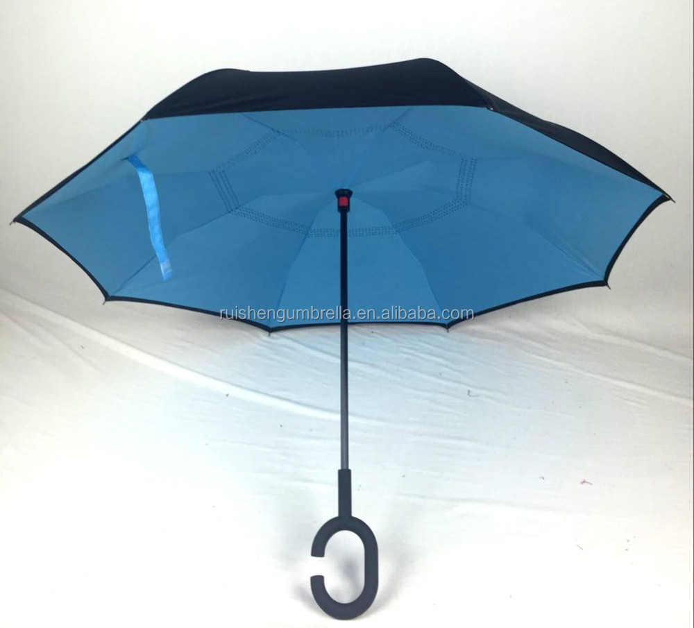 58.5 manual straight double canopy upside down umbrella blue color