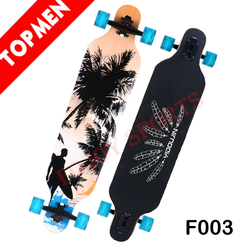 "Topman 41"" High Quality 7 Ply Longboard Canadian Maple Skateboard with PU Wheel"