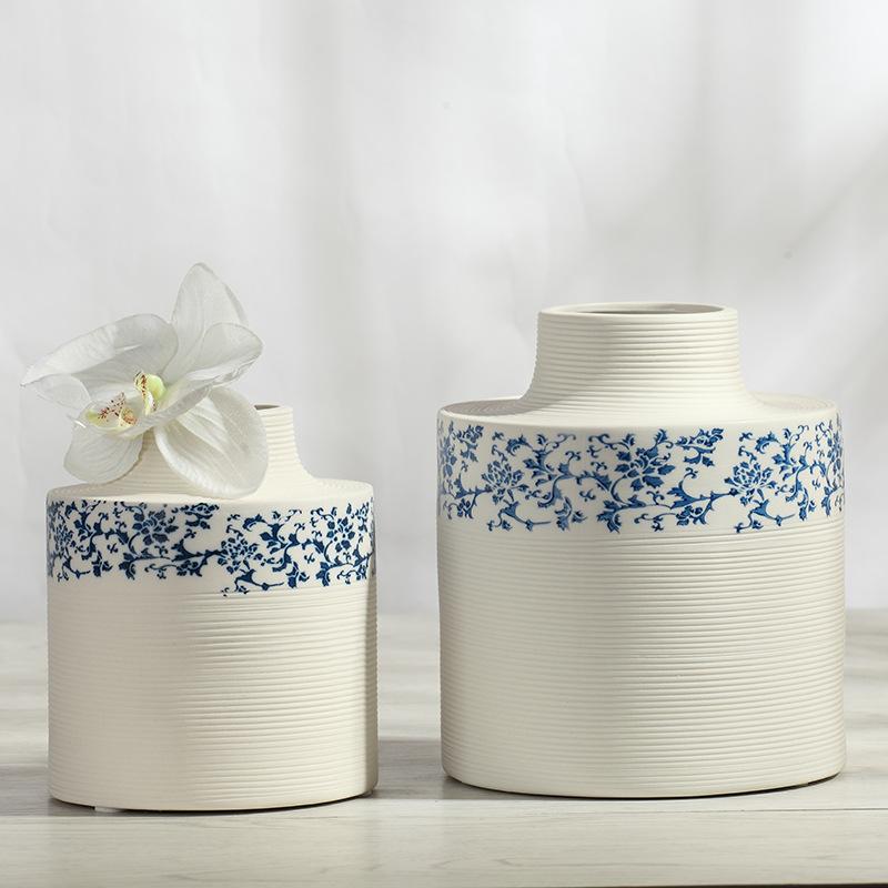 Ceramic Vase Flower Desktop European Modern Minimalist Home Decor Table Size Blue and White Porcelain Vases Flowerpot