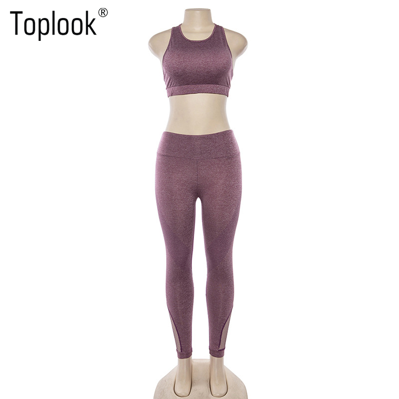Toplook Hollow Breathable Yoga Set Women Sport Leggings Sports Bra Sets Solid Gym Wear Fitness 2 Piece Sets S93