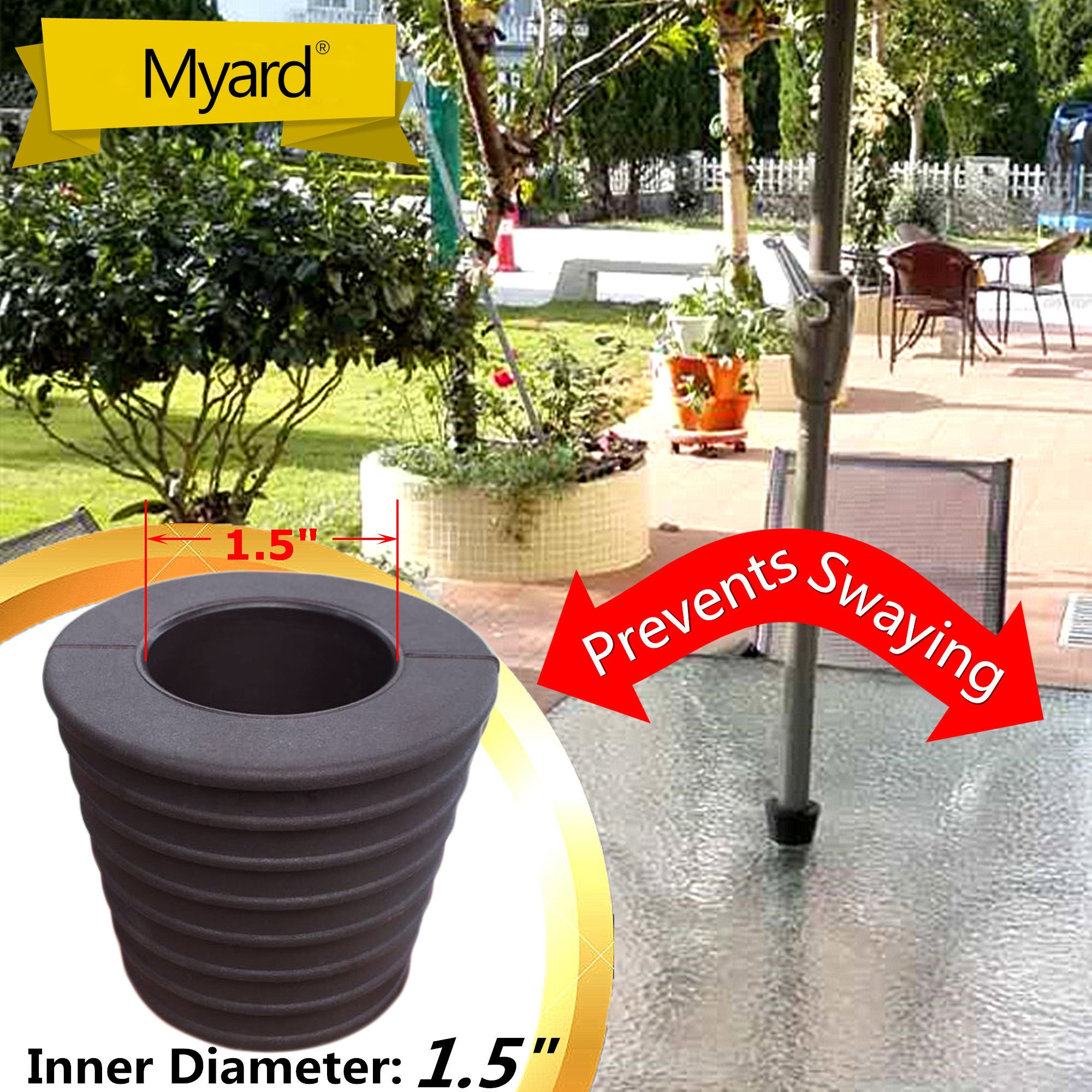"MYARD Umbrella Cone Wedge fits Patio Table Hole Opening or base 2 to 2.5 Inch, & Pole Diameter 1 1/2"" (38mm, Dark Brown)"