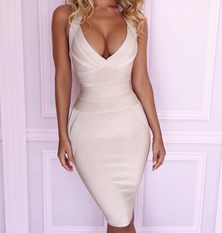 Alibaba.com / Ocstrade Hot Sale Summer Women Bodycon Bandage Dress Nude Halter Backless Party Dress