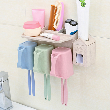 Beautiful design wheat straw 3 cups wall mounted toothbrush holder with toothpaste dispenser