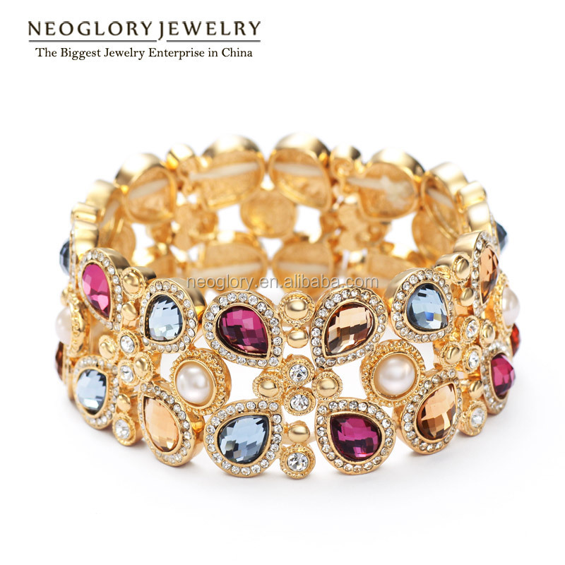 Rhinestone Simulated Pearl Glass Bracelets Bangles for 14K Gold Plated Women 2016 New Brand Gift Made With Swarovski Elements