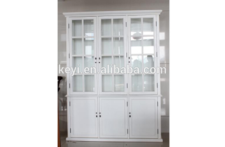 Antique Home Useful Living Room And Study Room White Wooden And Glass Tall  Display Cabinet With Three Doors(nc-2818-10 ) - Buy Antique Tall Wooden ...