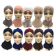 2019 Double layer cross bottoming cap muslim stylish women scarf hijab
