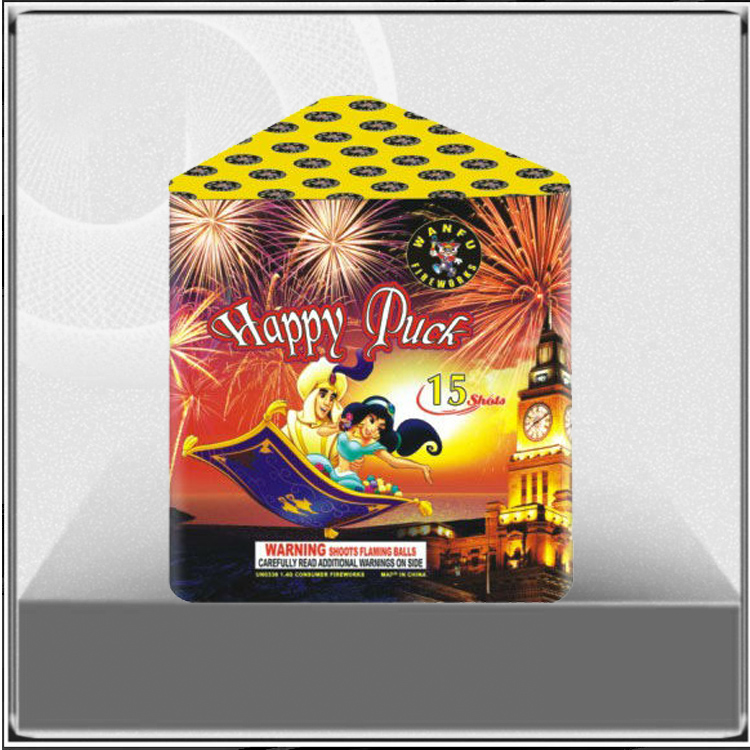 15shots China consumer Cake Firework Happy Puck for Wedding