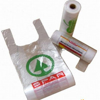 HDPE printed plastic bags on roll with handles by t-shirt