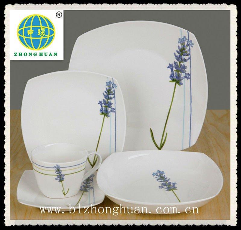 brillante impresin de la flor de porcelana vajilla moderna conjunto
