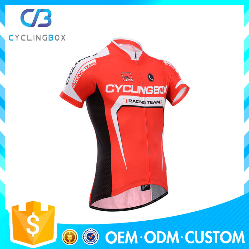 Hot wholesale pro style design gorgeous red dye printed stamp cycling wear/bike jersey with bib