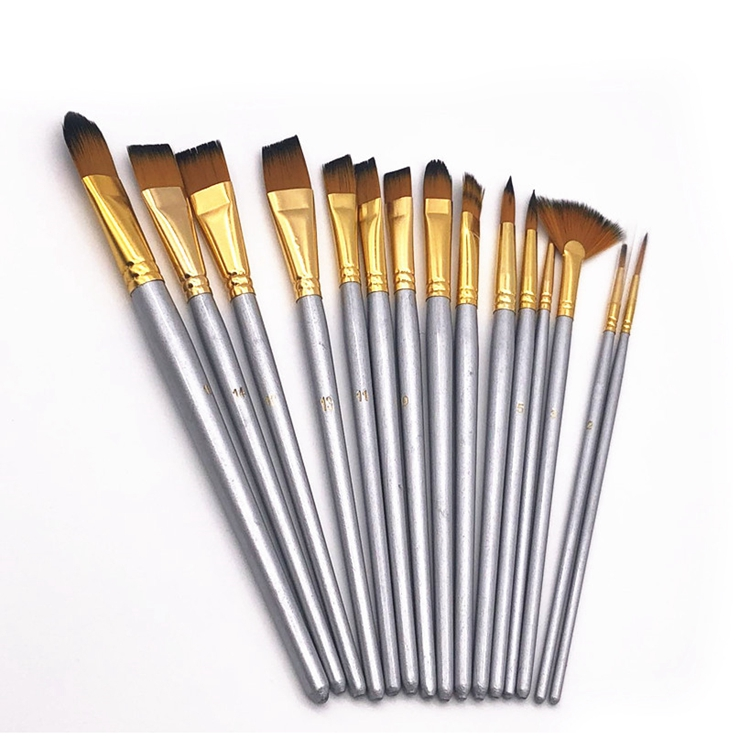 14 pcs Multi-Tip Artist Paint Brush Set Gold Aluminium Ferrule Package with Zipper Bag for Beginners Painters Artists