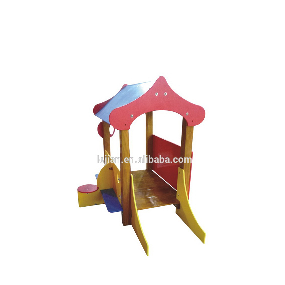 Homemade low cost bright color backyard wood playset