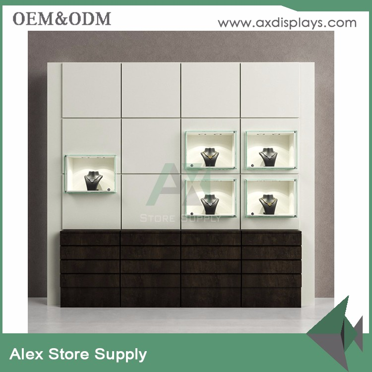 Tempered Glass Wall Jewelry Display Showcase with LED light