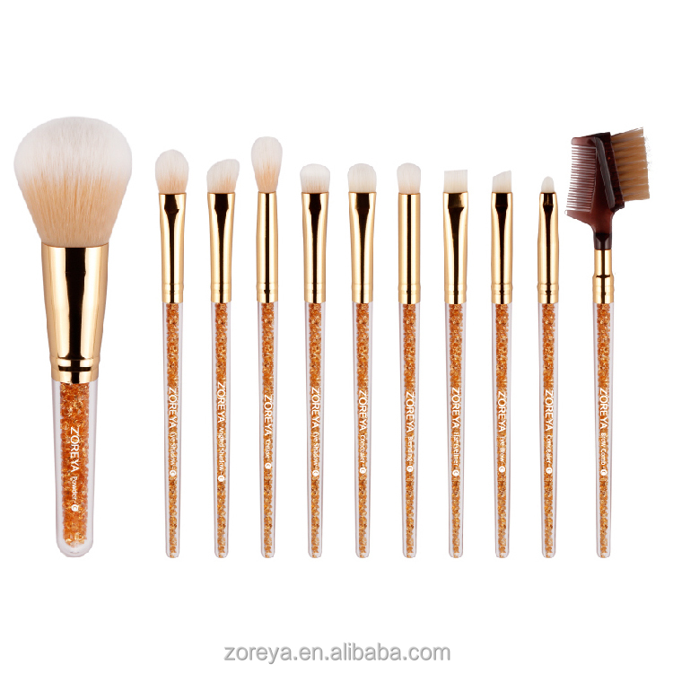 private label makeup brush Zoreya rose gold oval makeup brush set