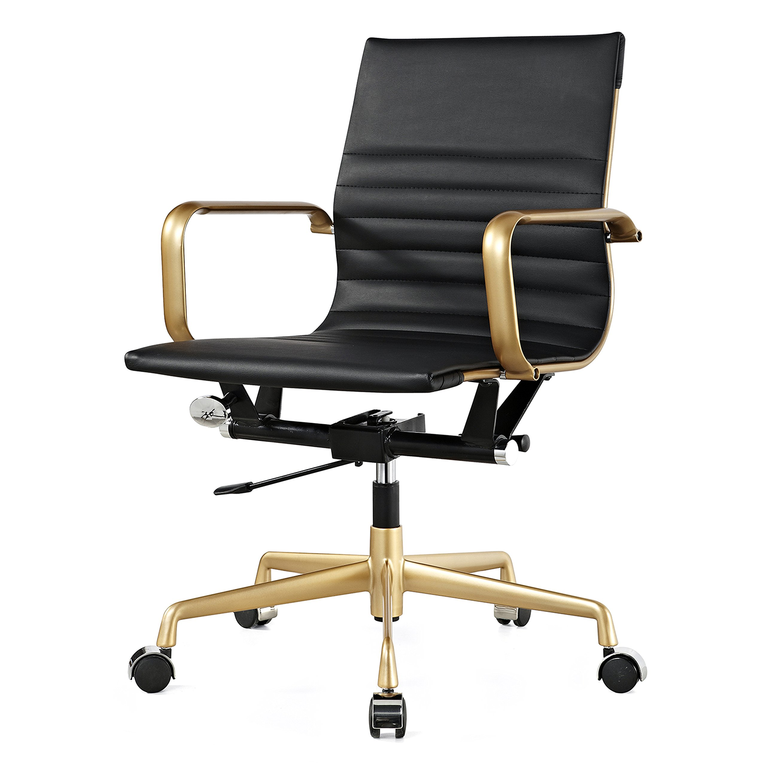Meelano M348 Ergonomic & Stylish Executive Office Chair,Vegan Leather Desk Chair, Modern Design, Adjustable Height, Reclining Office Seat For Extra Comfort & Style –10 Colors (Gold And Black)