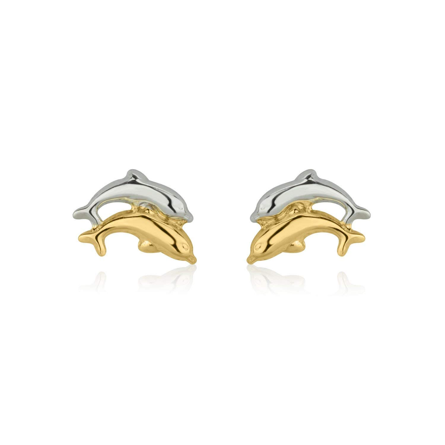 9df330a05 Get Quotations · 14K Solid White & Yellow Gold Dolphin Screw Back Stud  Earrings for Girls Kids Children Gift