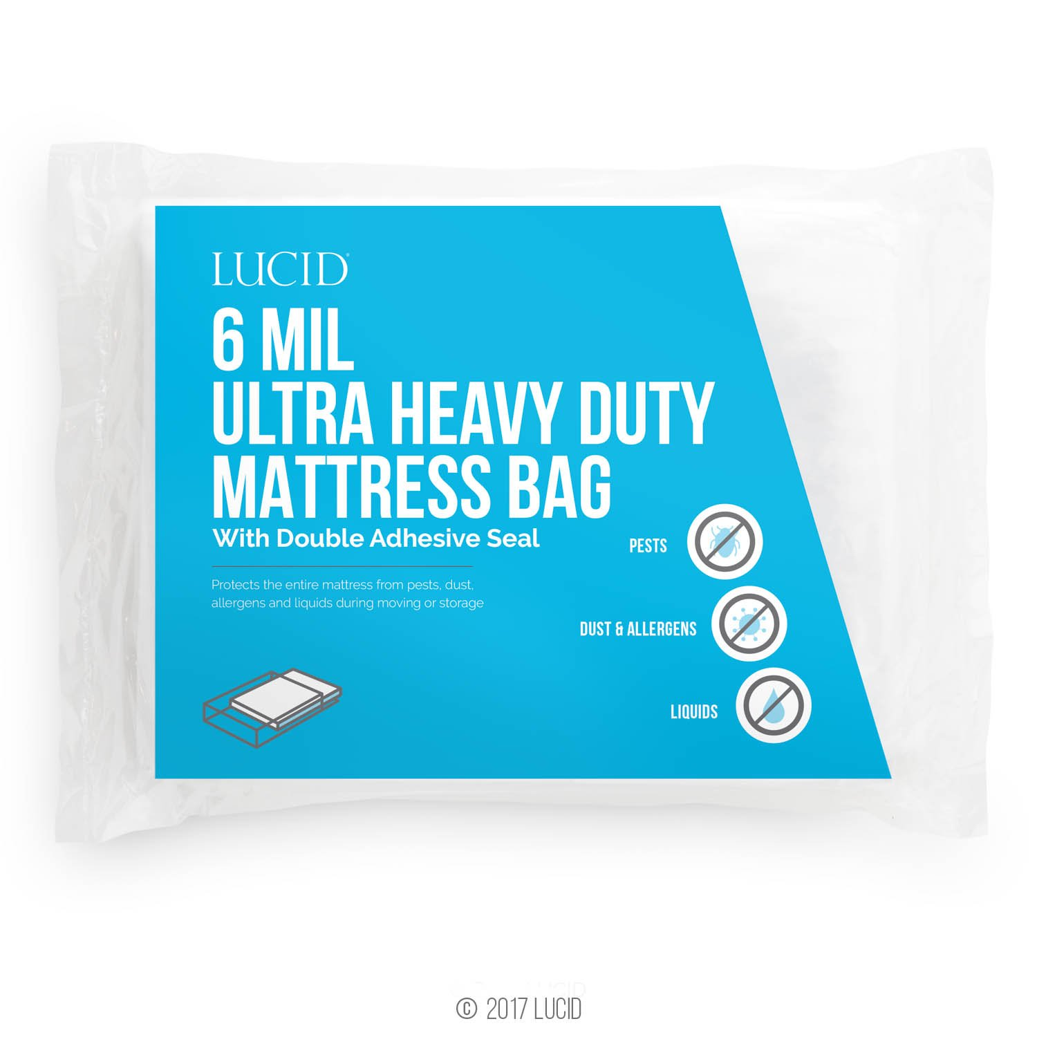 Lucid 6 Mil Ultra Heavy Duty Mattress Bag For Moving Storage Or Disposal Seals