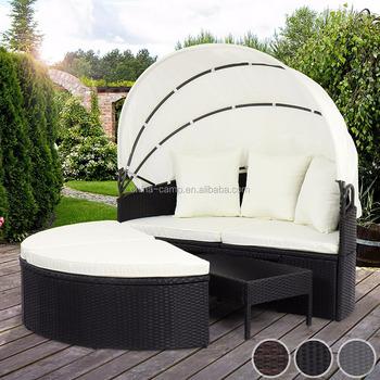 Polyrattan Sun Island Sonnenbank Liege Polyrattan Lounge Gartenmöbel Mit  Klapp Dach Und Tisch (75x45x27 Cm