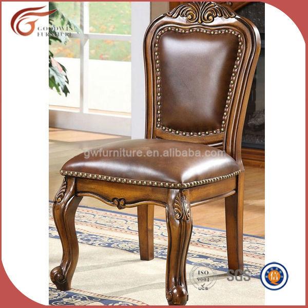 Antiguo tallado a mano de cuero silla de comedor de madera for Sillas de madera para comedor clasicas