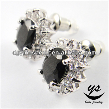 Traditional Indian Earring Black Stone Diamond Stud
