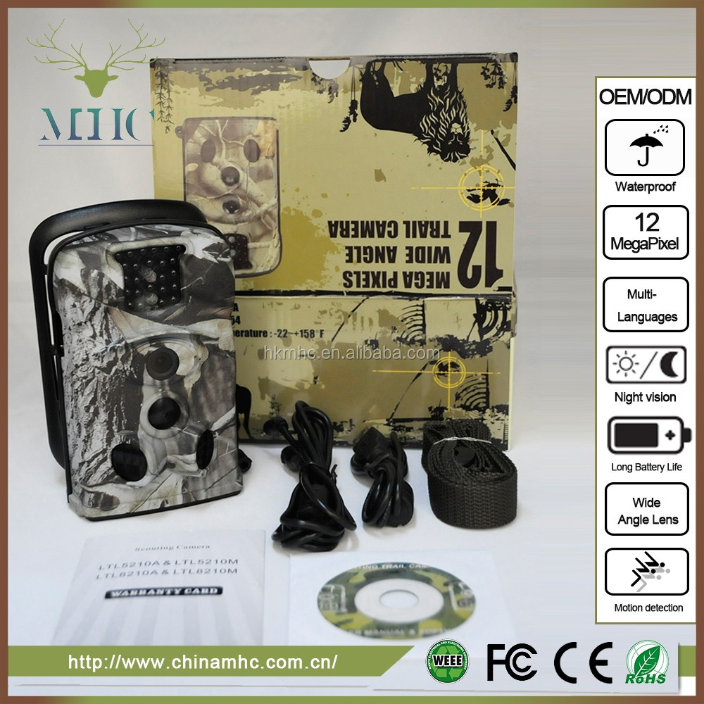 Camo design12 MP 720P HD 120 degree Wide Angle IP54 Waterproof Hunting Trail Game Camera Surveillance Camera with 24 Pcs IR LEDs