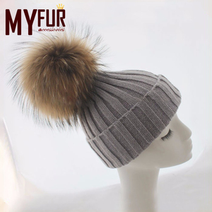 Wholesale custom gold and silver line raccoon fur pom pom hats women girls winter hats with puffball