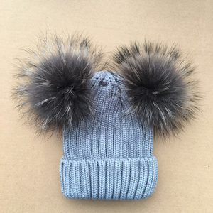 Baby Raccoon Fur Pom Pom Hat 745efa96e5ea