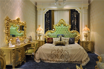 Royal Wood Carving Bedroom Set Luxury Design, Antique European Style Palace  Gilt Wood Upholstery Bedroom