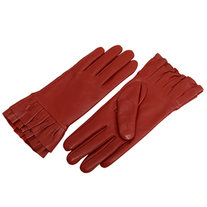Hot Selling Red Women Leather Gloves Outdoor Cycling Touchscreen Warm Gloves,Full Finger gloves with Fur Lining