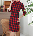 2015 New Summer Fashion Women Mini Dress Chinese Traditional Plaid Qipao Cheongsam Vestido De Festa S