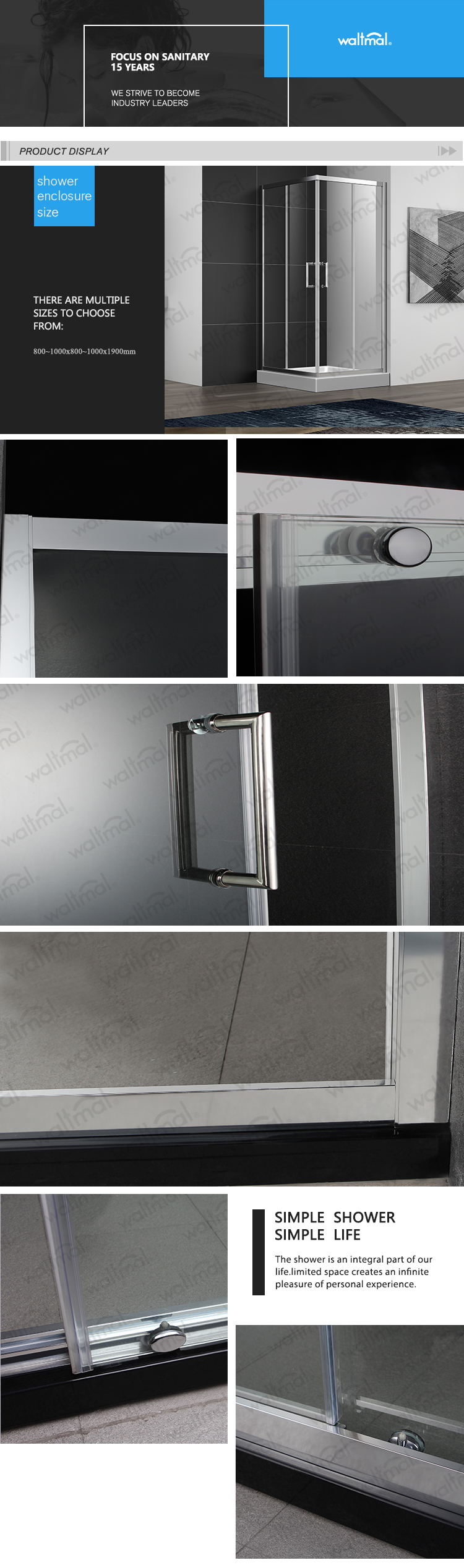 6/8mm tempered glass sliding square  shower kits for small shower room WTM-03B13