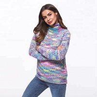 2019 High Quality Wholesale Winter Autumn Stylish Women Loose Long Sleeve Cashmere Cheap Turtleneck Sweaters Women