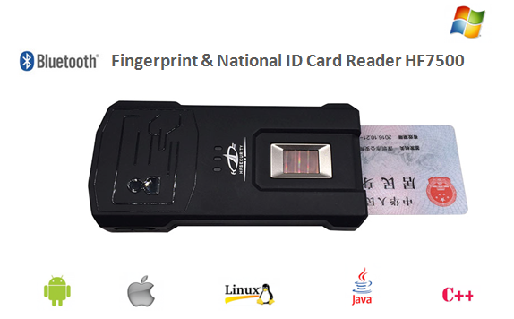 Durable Bluetooth Android Windows Linux Fingerprint & National ID Card Reader (HF7500)