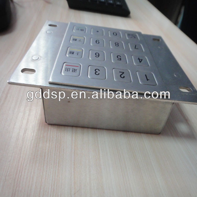 Waterproof vandal resistant metal keypad