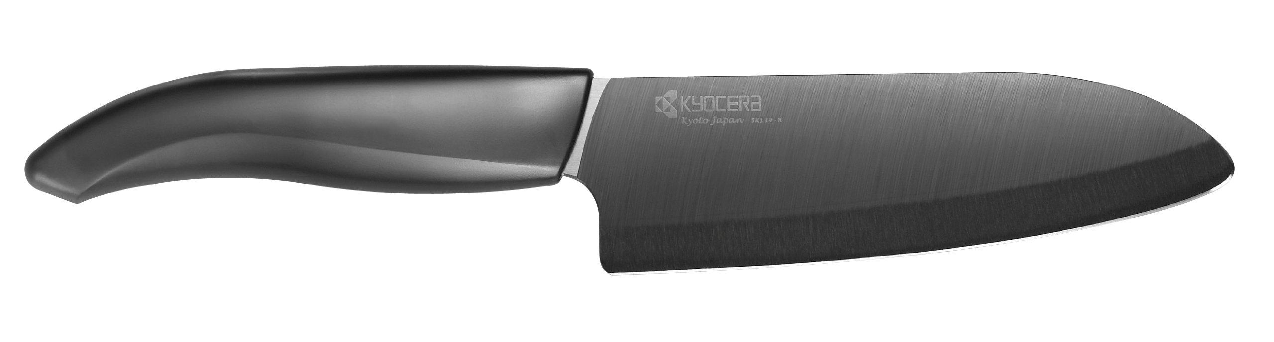 Kyocera Advanced Ceramic Revolution Series 5-1/2-inch Santoku Knife, Black Blade
