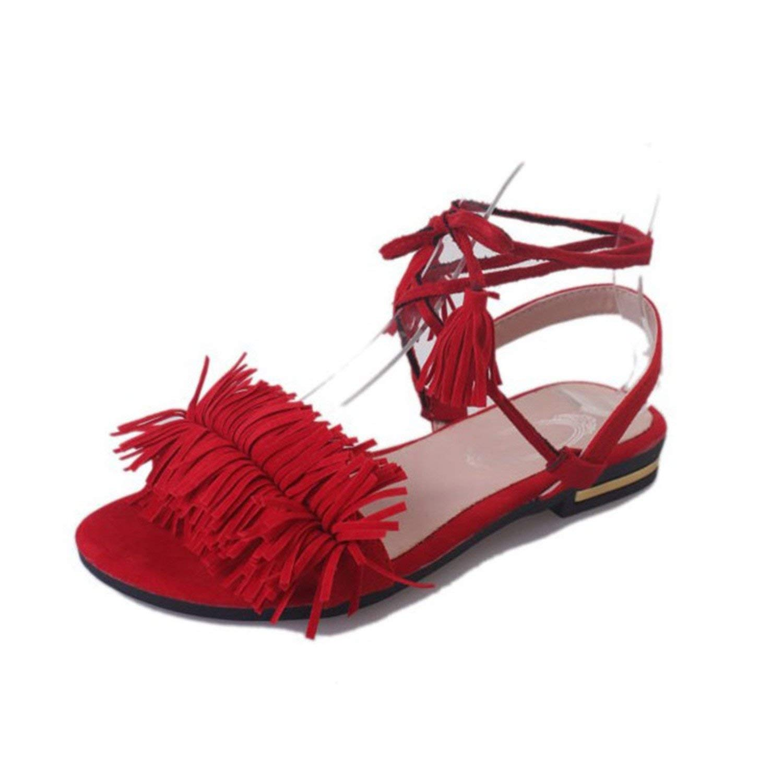Aancy Real Fur Ankle Strap Gladiator Sandals Women Flats Tassel Shoes Ladies Wedding Beach Sandals