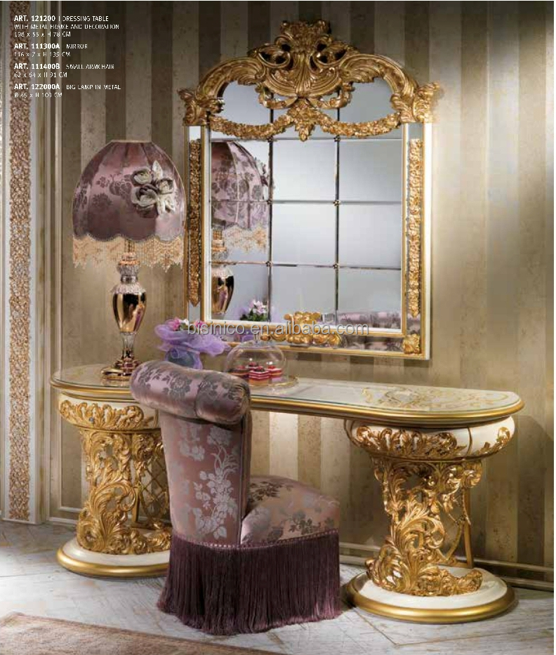 baroque italien de style en bois coiffeuse en or et blanc conception vanity brass moulage. Black Bedroom Furniture Sets. Home Design Ideas
