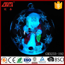 wooden laser cut christmas decoration santa glass ball