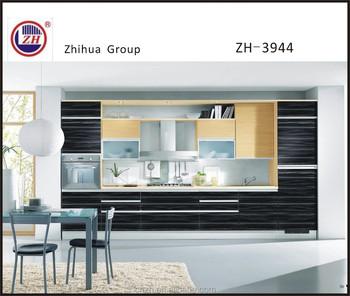 High Glossy Grey Wood Grain Kitchen Furniture Matching Many Wall - Glossy grey kitchen cabinets