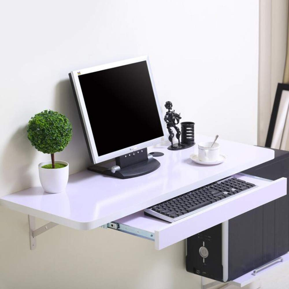 Tables ZR-Wall Wall-Mounted Computer Desk Desktop Household Space Saving Wall-Mounted Wall Computer Desk -Save Space (Color : White, Size : 8040cm)