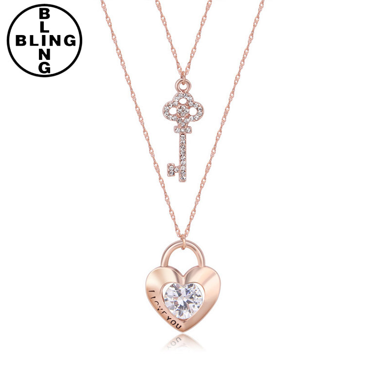>>>Free sample Summer spring long chains jewelry pendant parts best friend rose gold lock and key pendant necklace dangle.