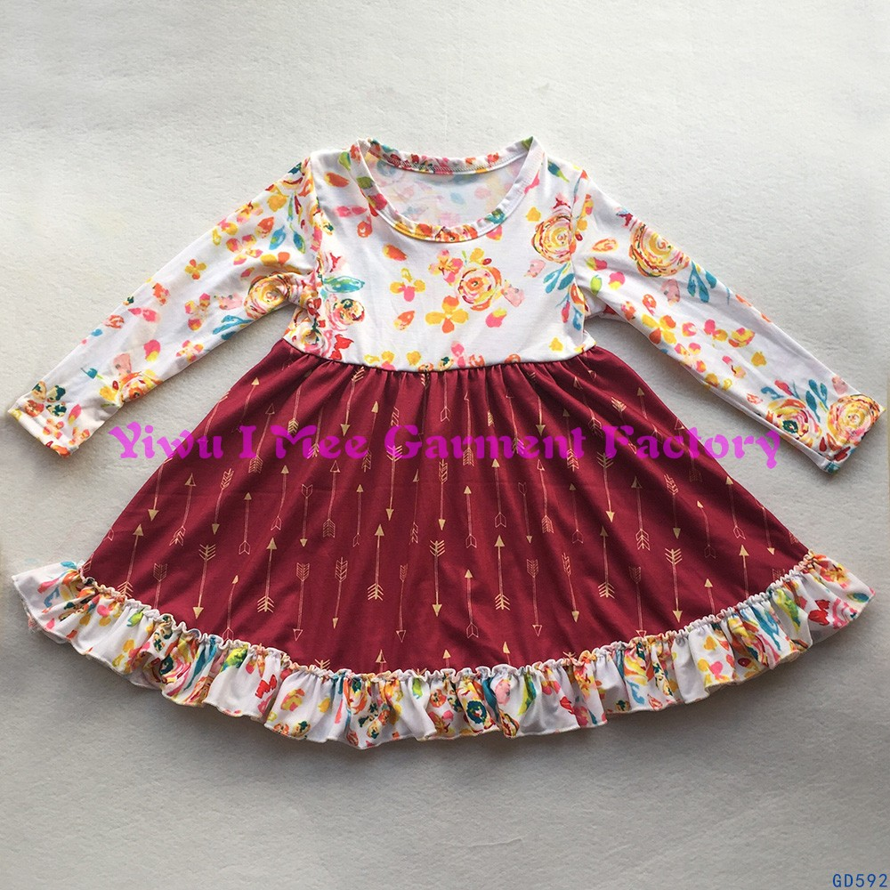 Boutique Little Girls Flutter Dresses Wholesale Kids Long Sleeves Ruffled Arrow Frock Dresses GD592